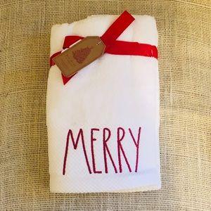 Rae Dunn 2-Piece MERRY Christmas Hand Towel Set